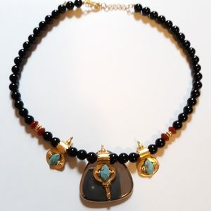 CHAN LUU OBSIDIAN AND GOLD TURQUOISE NECKLACE